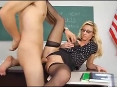 Blonde Glasses Wearing Milf In Black Stocking Regan Anthony