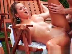 Hotties take up with the tongue each other and also get fucked by a dude