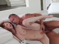 Redhead Stepdaughter Abbey Rain gets Banged
