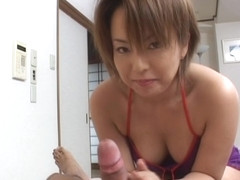 Hot Milf Rio Kurusu makes her boyfriend cum with a hot blowjob.