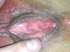 I filmed me rubbing my wife's sweet pink pussy