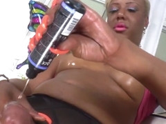 Black latina tgirl solo tugging on her dick
