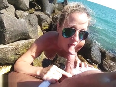 Best risky amateur sex on the beach with cum swallow