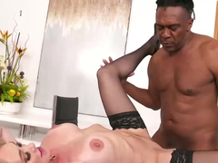Experienced, blonde milf, Brandi Love is giving a blowjob to Jules Jordan beofre riding his cock