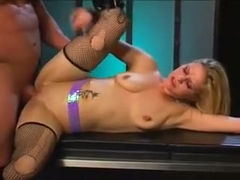 Pouty Blonde Aaralyn Barra Fucks His Stiffy And Gets A Load In The Mouth