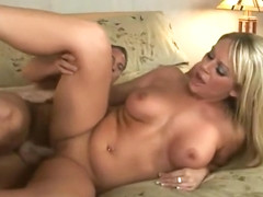 Awesome busty Ahryan Astyn is sucking cock