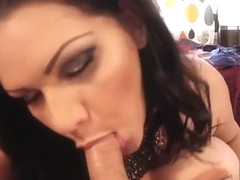 Enticing breasty latina Angelina Castro gives a magic blowjob