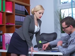 Boobylicious office enchantress got some dick installed in her vagina