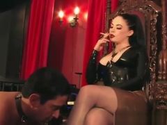 Human ashtray and heel worship (part 1)
