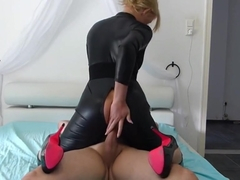 Blonde slut in black latex spandex catsuit fucked