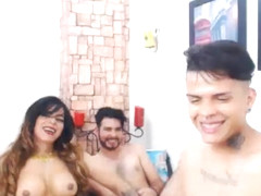 One Tranny Two Guys in a Hot Sex Party