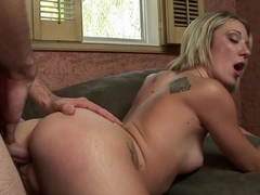 Attractive blonde Amy Brooke seduces a hung guy to please her snatch
