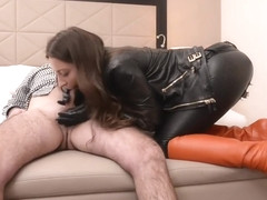 Julie Skyhigh in latex plays with boy in hotel