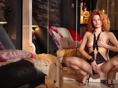 Energists - Colleen - Puffy Nippled Redhead Masturbates by a Mirror