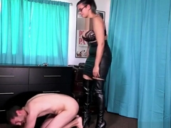 MISTRESS PENNY UNLOCKS A WIMP FROM HIS CAGE TO BUST HIS BALLS