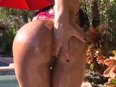 Black bitch Jayla Foxx gets pumped by the pool