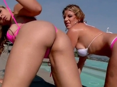 Sarah Vandella and Velicity Von are two hot lesbian whore on a pool