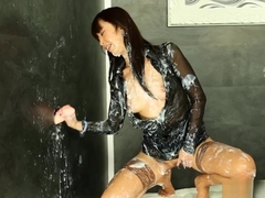 Gloryhole Asian Completely Covered With Cum