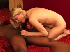 Blonde Lya Pink sucks dick before interracial banging