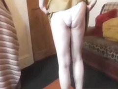 Mature upskirt in white cotton panties