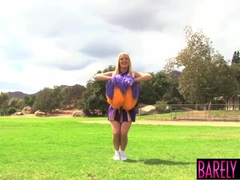 Cheerleader Tristyn Kennedy eats jizz after pounding