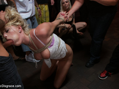 Beautiful Petite Blonde Tied-Up And Fisted In Public - PublicDisgrace