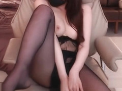 Big tits Korean in sexy black pantyhose
