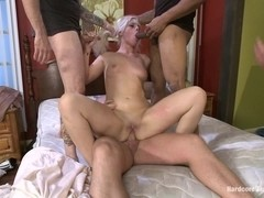 Beautiful Blonde gets set up by Boyfriend with Five Cocks