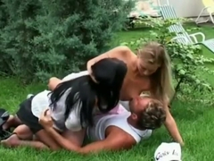 Mya Diamond and Victoria Swinger in hot foursome outdoor