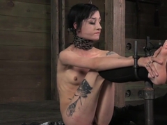 Restrained Slave Punished with Stick and Toys