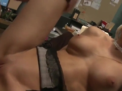 Lonely secretary Chloe Conrad fucks and sucks hard long cock