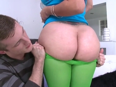 Awesome chick Carmen Ross boasts of her enormous huge ass in front of her mate