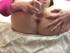 Gushing grool on glass and riding with her ass