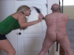 Mistress Harmony Rose whipping lucky slave