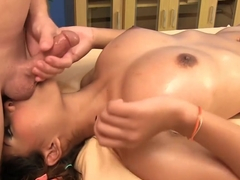 Oiled woman, Nuuna is getting a pussy massage and moaning, because it feels so good