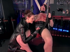 Leather gloves handjob- Suspended boy toy
