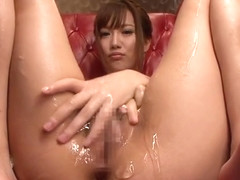 Winsome small titted Japanese Rio Fujisaki is fucking a hot dildo