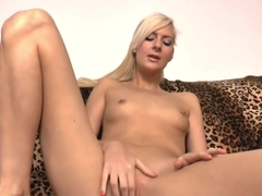 Slim blonde lady Lenny Elleny blows cock