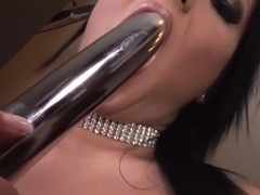 Angelica Heart Tastes Herself On A Silver Dildo