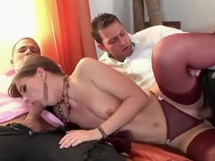 Evelyne Foxy in stockings gets tagged