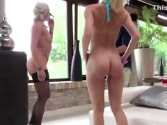 Blonde Candy rides cock and Brittany receives a ferocious ass fucking