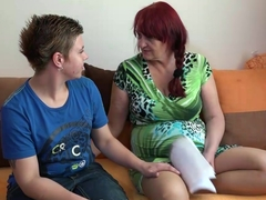 Lesbian granny and teen with huge dildo