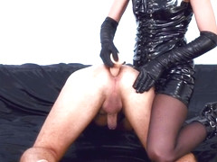 Latex milf mistress prostate milking with a dildo - rubs the cum in his ass