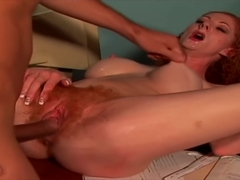 Bush Redhead Hard Fucked in Office