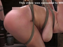 Huge tits babe in hogtie suspension