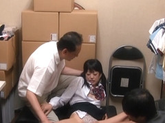 Japanese AV Model is a hot teen in nasty threesome