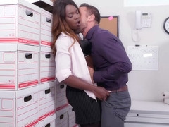 Small titted, black babe, Ana Foxxx is fucking her colleague from work during a lunch break