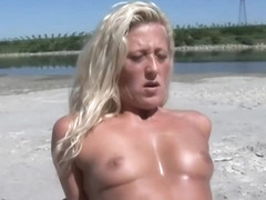 Italian milf is sucking cock on the beach and having casual sex with a horny stranger