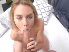 Small titted blonde with dirty mind knows how to please guys with her lips and pussy