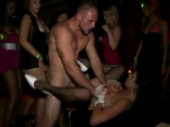 Super hot brunette Kristine Crystalis fucking with Jmac and Johnny Champ at the party